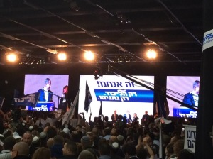 Netanyahu gives a victory speech on election night.